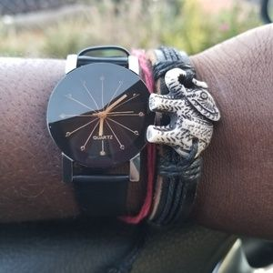 Adjustable White Elephant Leather Bracelet